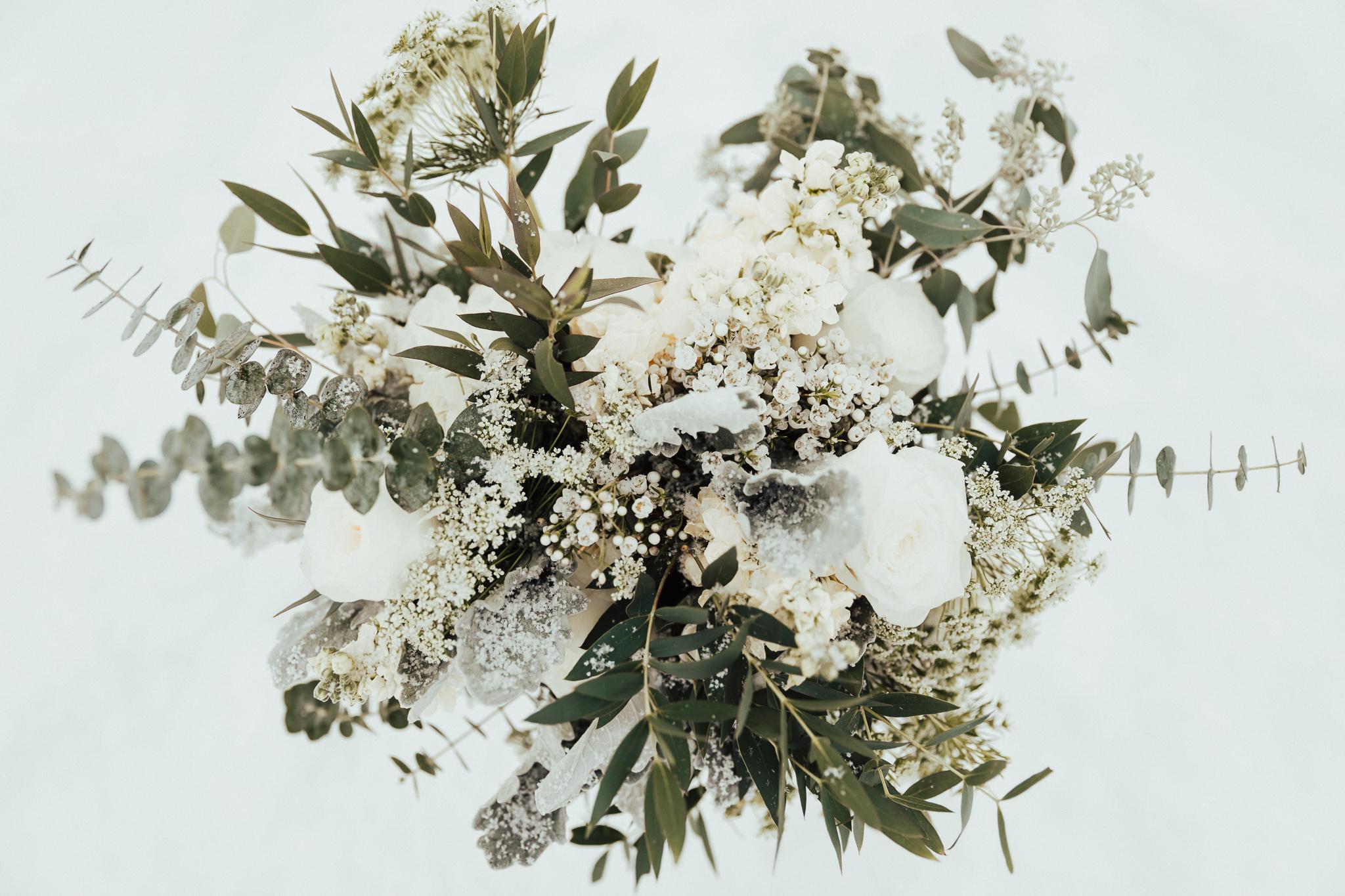 paper peony winter bouquet.