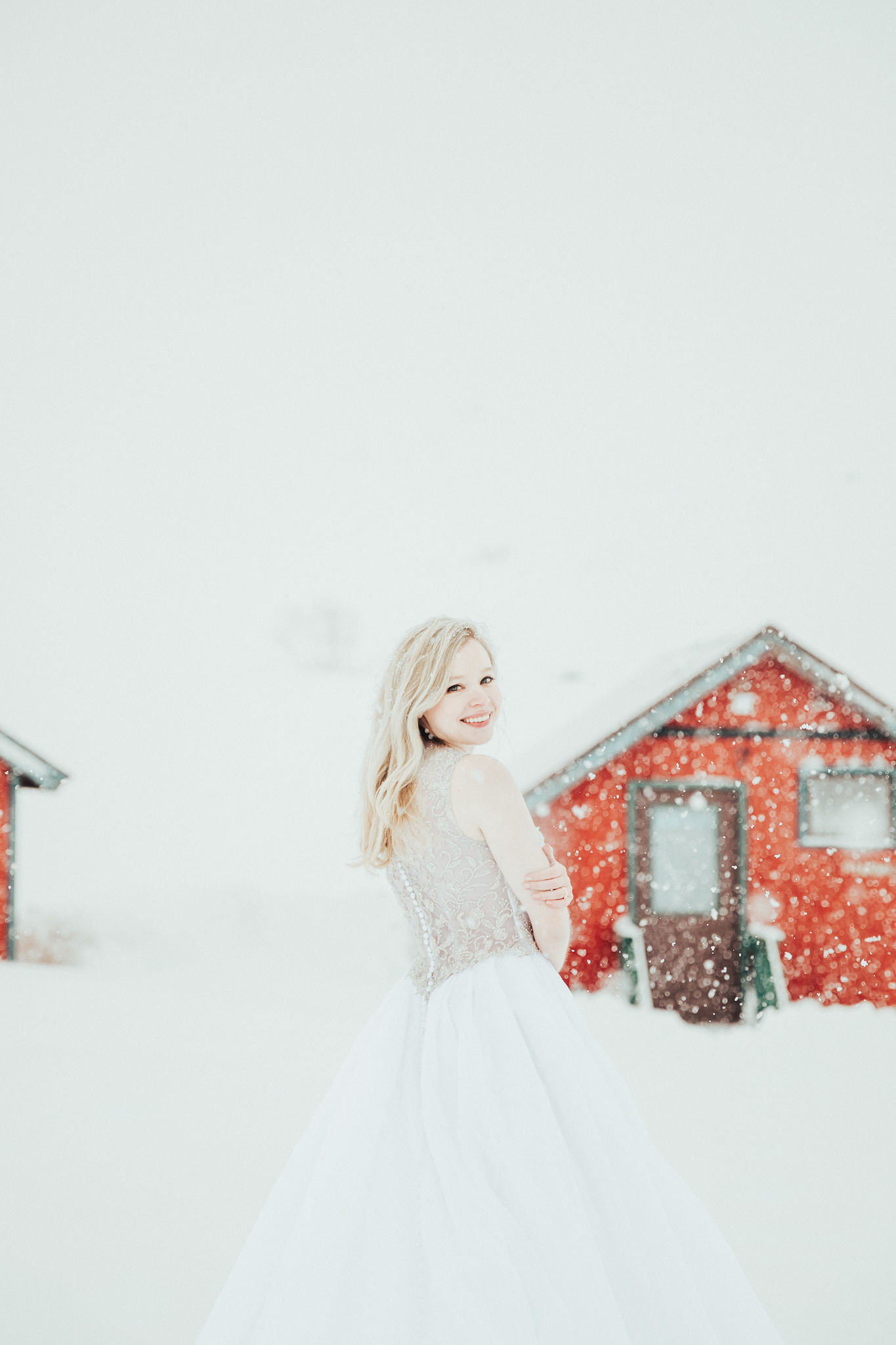 Hatcher Pass elopement Winter Wedding Anderson's Bride Wedding Gown