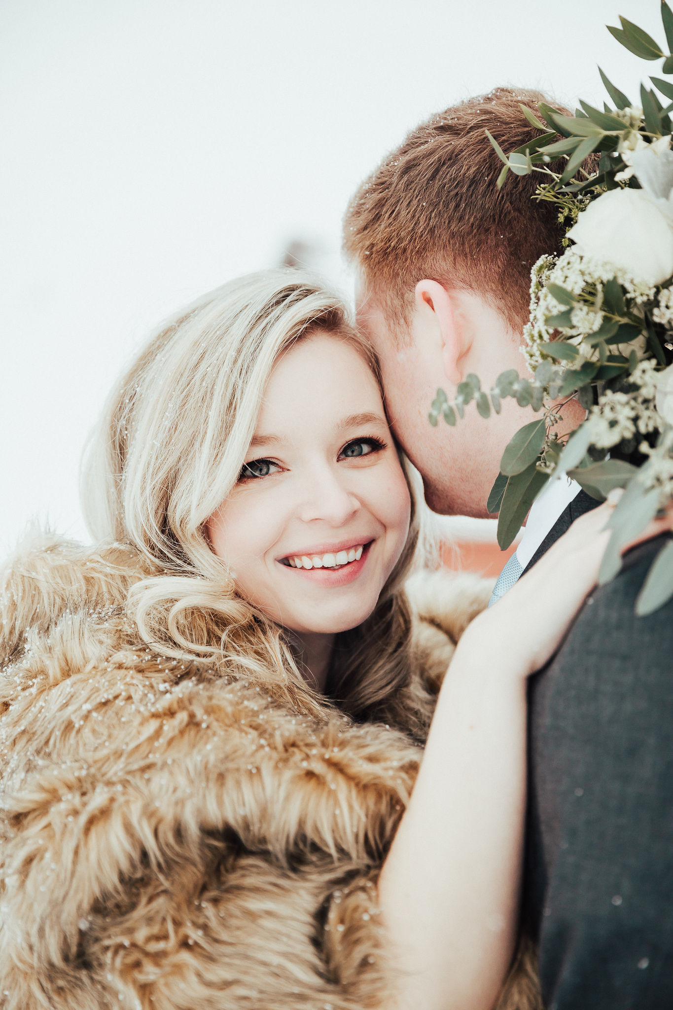 paper peony wedding bouquet winter wedding